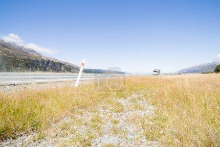 Moving camper van on highway to Mount Cook.