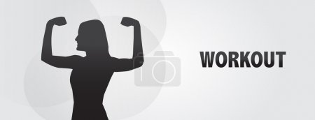 Woman flexing muscle, workout, silhouette, eps vector banner