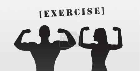 Man and woman flexing muscle, silhouette, eps vector banner