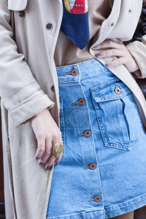 Details of modern stylish outfit
