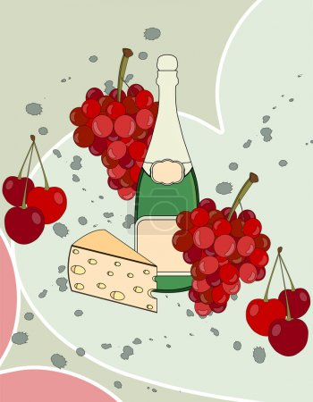 Romantic collage with shamanic, cheese, grapes and cherries. Beautiful collage. Poster. Vector illustration.