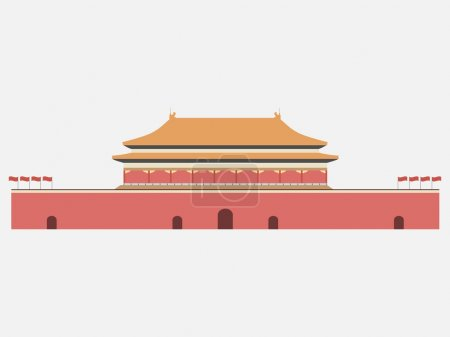 Forbidden City. Gate of Heavenly Peace. Tiananmen Square. Beijing. Vector