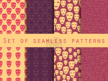 Illustration for Mask with a smile seamless pattern. A set of patterns to the first on April Fools' Day. Vector illustration. - Royalty Free Image