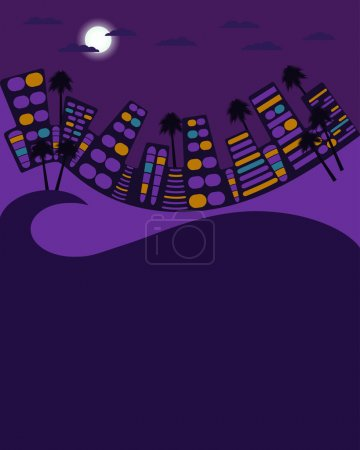 Illustration for Night city in the style of 80's. City landscape. Space for text. Vector illustration. - Royalty Free Image