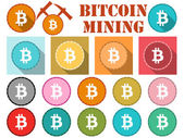Bitcoin Bitcoin symbol flat coin with shadow Bitcoin mining Set of icons