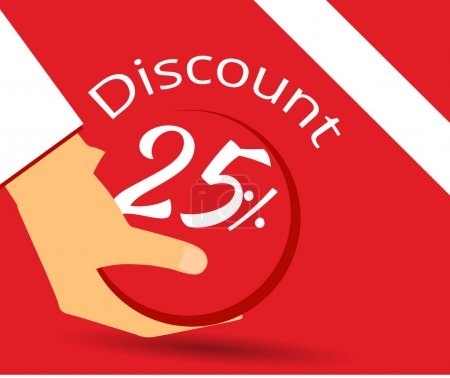 Hand holds a 25 per cent discount on prices. Special offer for holidays and weekends. Design element in a flat style.