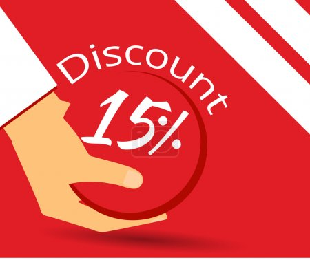 Hand holds a 15 per cent discount on prices. Special offer for holidays and weekends. Design element in a flat style.