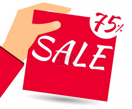 Hand holds a 75 per cent discount on prices. Special offer for holidays and weekends. Design element in a flat style.