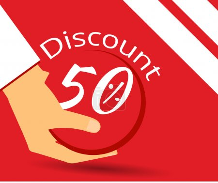 Hand holds a 50 per cent discount on prices. Special offer for holidays and weekends. Design element in a flat style.
