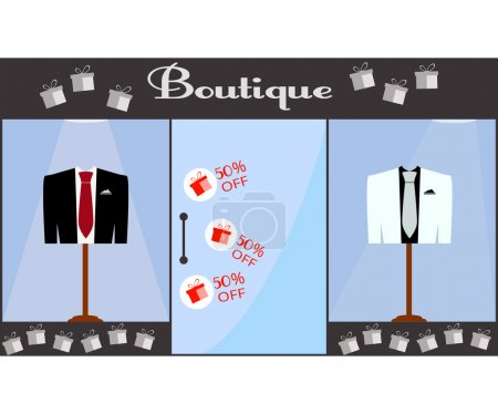 Showcase. Boutique. Jacket and vest with a tie behind the glass showcases. White and black jacket. Red tie. Sale of 50 percent. Vector illustration.