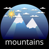 Snow-covered mountain peaks logo label The sun clouds and two peaks on a blue background Vector illustration