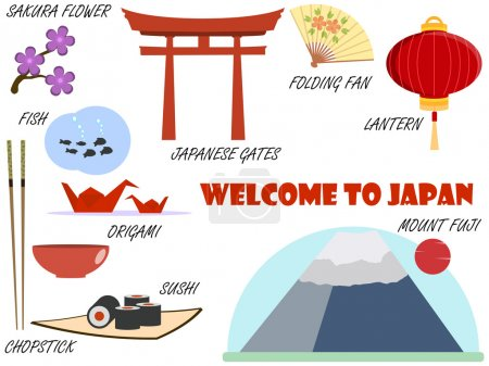 Bienvenue au Japon. Symboles du Japon. Ensemble d'icônes. Vector