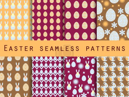 Easter. Set of seamless patterns. Easter Bunny and Easter egg. Template for wallpaper, tile, tissues and structures.