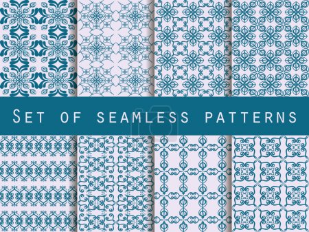 Illustration for Set of seamless patterns. Geometric patterns. The pattern for wallpaper, tiles, fabrics and designs. Vector illustration. - Royalty Free Image