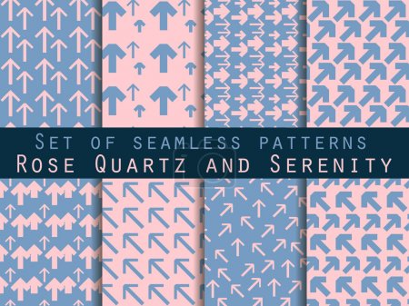 Illustration for Set of seamless patterns with arrows. Rose quartz and serenity violet colors. For wallpaper, bed linen, tiles, fabrics, backgrounds. Vector illustration. - Royalty Free Image