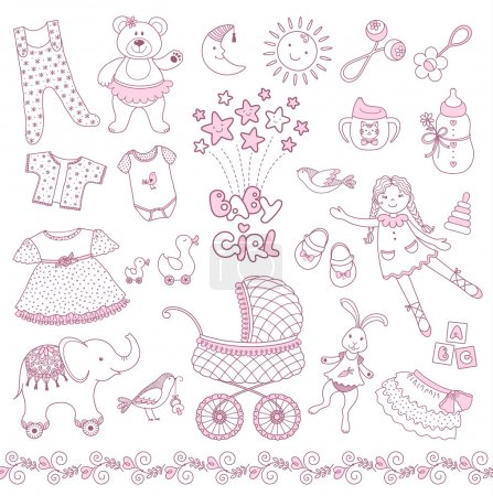 Illustration for The set of pink baby girl things. Vector contour. - Royalty Free Image