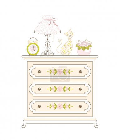 Illustration pour Bureau beige avec motif floral pour vêtements et horloge, lampe, chat jouet et pot de fleurs avec des violettes dessus . - image libre de droit
