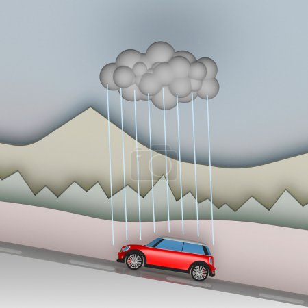 Photo for Bad luck, bad holiday. Small red car followed by only rain cloud. - Royalty Free Image