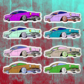 Pop art stickers set Hand drawing lowriderVector illustration