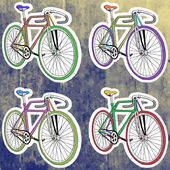 Pop art stickers set Hand drawing retro bicycleVector illustration