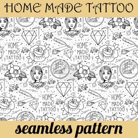 Illustration for Tattoo seamless pattern with different hand drawn elements. Old school - Royalty Free Image