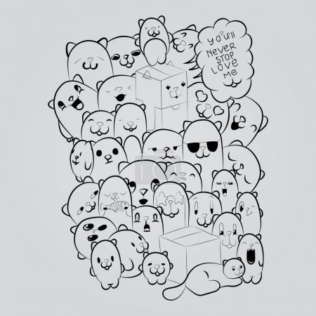 Big composition of doodle cats for yours cards, postcards, brochures,t-shirts and posters