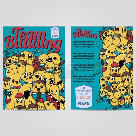 Vector hand drawn doodles team building design banners  cards, postcards, brochures, and posters template set