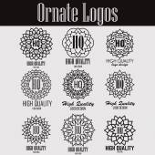 Retro design luxury insignias logotypes template set Line art vector vintage style victorian swash elements Elegant geometric shiny floral frames