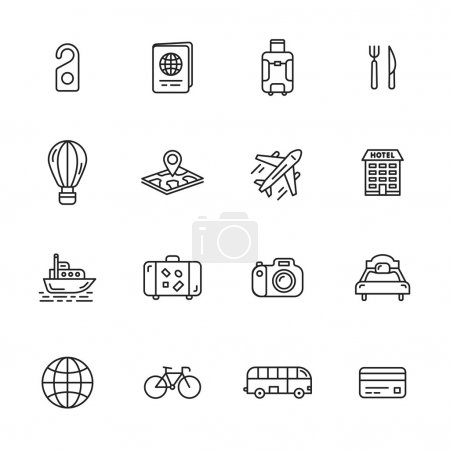 Illustration for Travel, journey and hotel thin line icons - Royalty Free Image