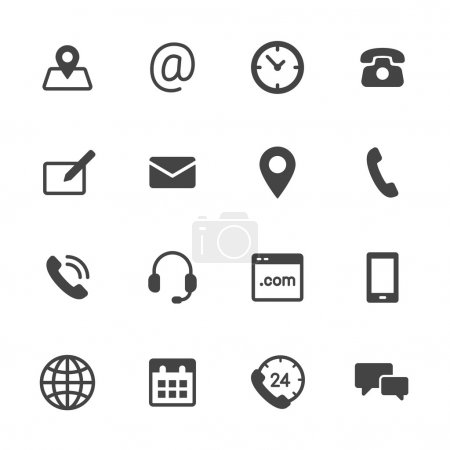 Contact us icons. Simple flat vector icons set on ...