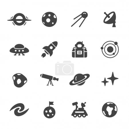 Space and astronomy icons. Simple flat vector icon...