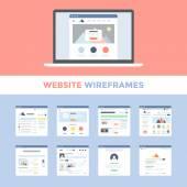 Vector set of flat website wireframes on laptop screen