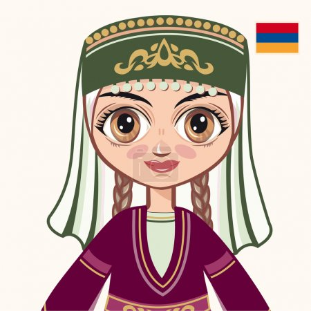 Illustration for The girl in Armenian dress. Historical clothes. Armenia. Portrait. Avatar. - Royalty Free Image