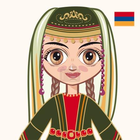 Illustration pour La fille en costume arménien. Des vêtements historiques. Arménie. Portrait. Avatar . - image libre de droit