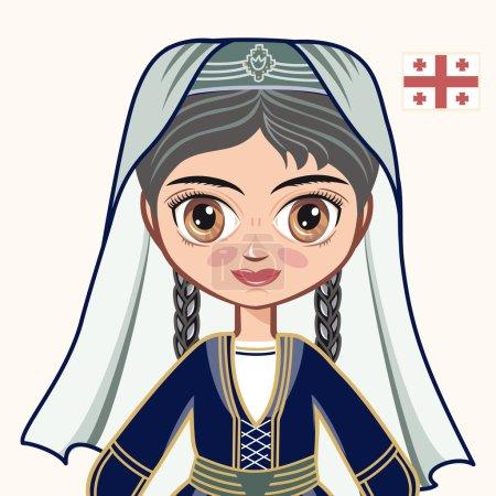 The girl in Georgian dress. Historical clothes. Georgia. Portrait. Avatar.