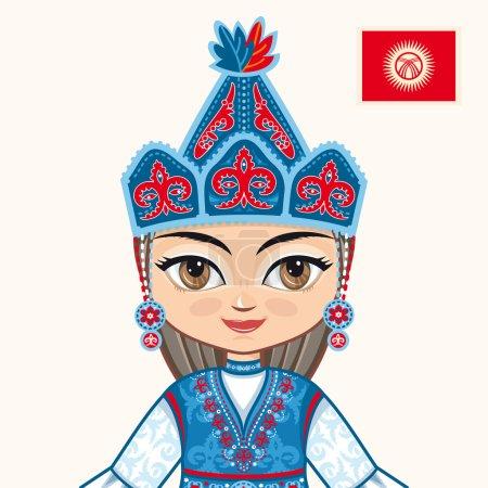 The girl in Kyrgyz dress. Historical clothes. Kyrgyzstan. Portrait. Avatar.