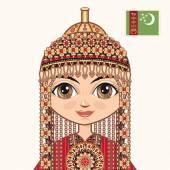 The girl in Turkmen dress. Historical clothes. Turkmenistan. Portrait. Avatar.