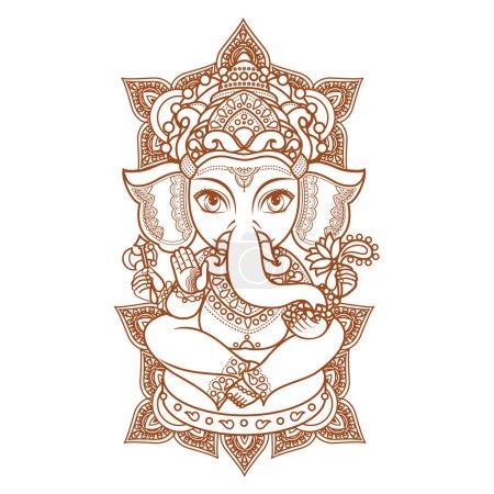 Illustration for Lord Ganesha. Vector illustration of  colorful Happy Lord Ganesh for Ganpati Chaturthi. - Royalty Free Image
