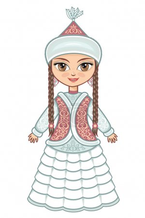 The girl in  Kazakh dress. Historical clothes.