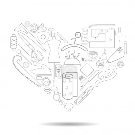 Illustration for Illustration of a heart filled with linearly drawn sewing tools. Tailor's stuff collected in the form of a heart. - Royalty Free Image