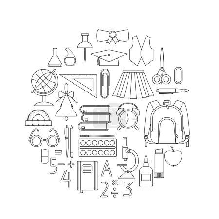 linear school supplies in circle