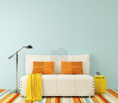Photo for Modern colorful interior with white couch near empty blue wall. 3d render. - Royalty Free Image