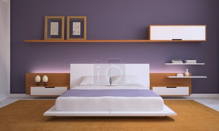 Photo for Modern bedroom interior. 3d render. - Royalty Free Image