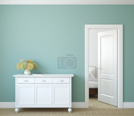 Photo for Modern hallway with open door. 3d render. - Royalty Free Image