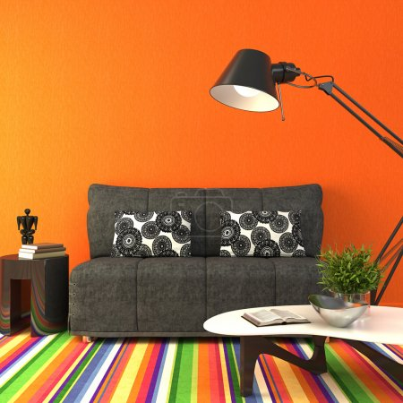 Photo for Modern colorful living-room.. 3d render. - Royalty Free Image