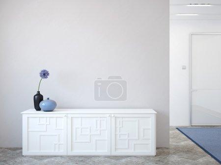 Photo pour Couloir moderne avec l'intérieur commode près du mur gris vide. Rendu 3d. - image libre de droit