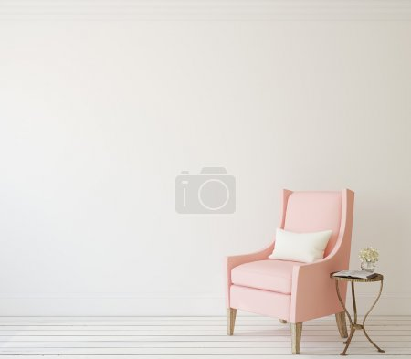 Photo for Interior with pink armchair near white wall. 3d render. - Royalty Free Image