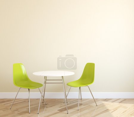 Photo for Interior with table and two green chairs near empty beige wall. 3d render. - Royalty Free Image