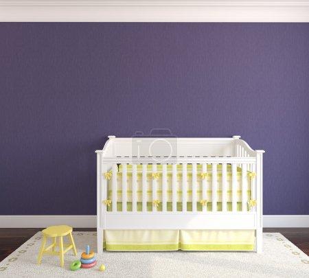 Cute interior of nursery with crib.