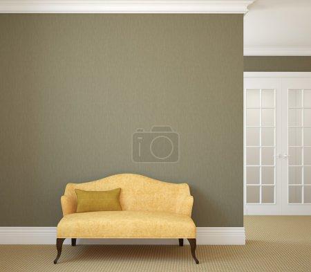 Photo pour Couloir avec canapé jaune près du mur gris vide. rendu 3D. - image libre de droit